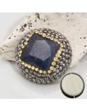 perle Marcasite importante con pietra Lapislazzuli 25 mm forma rotonda base piatta