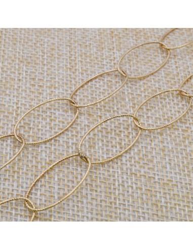 Catena in argento 925% placcato oro anelle ovali sfaccettata 23 x 11 mm per 50 cm