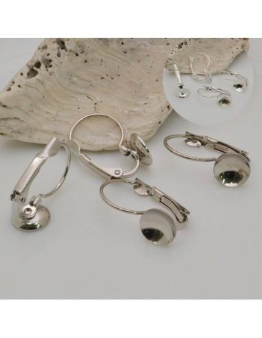 2 paia monachelle chiuse incollo con coppette 8 mm in ottone per orecchini bijoux