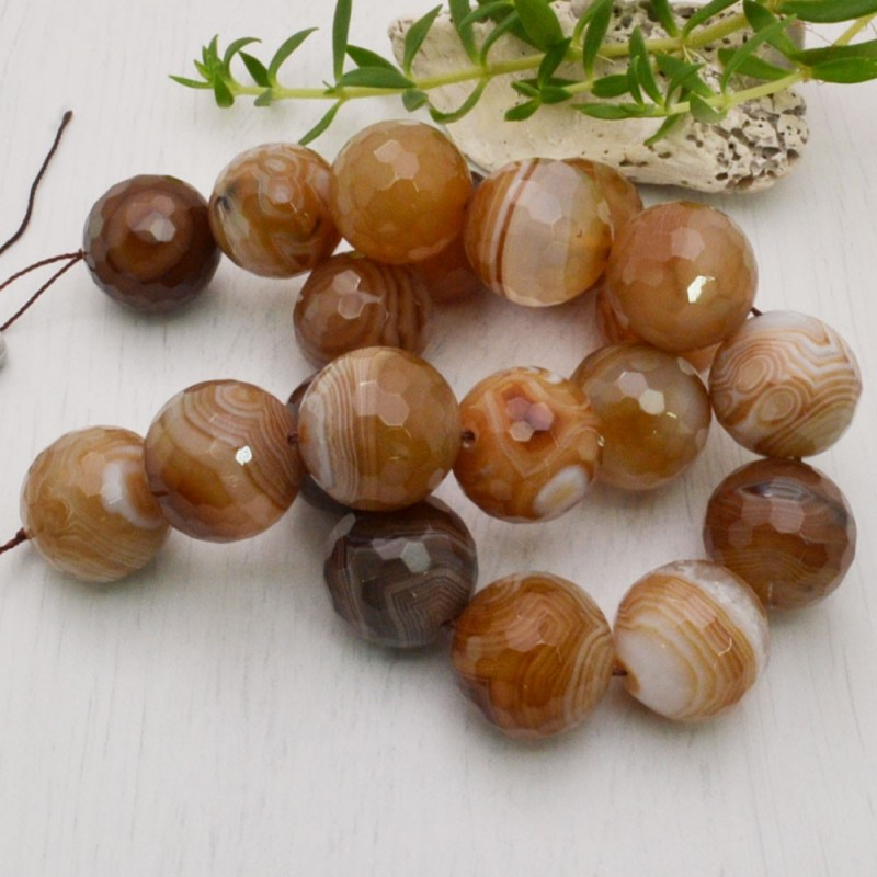 perla agata botswana sfaccettata tondo 20 mm filo 40 cm 20 pezzi per fai da te