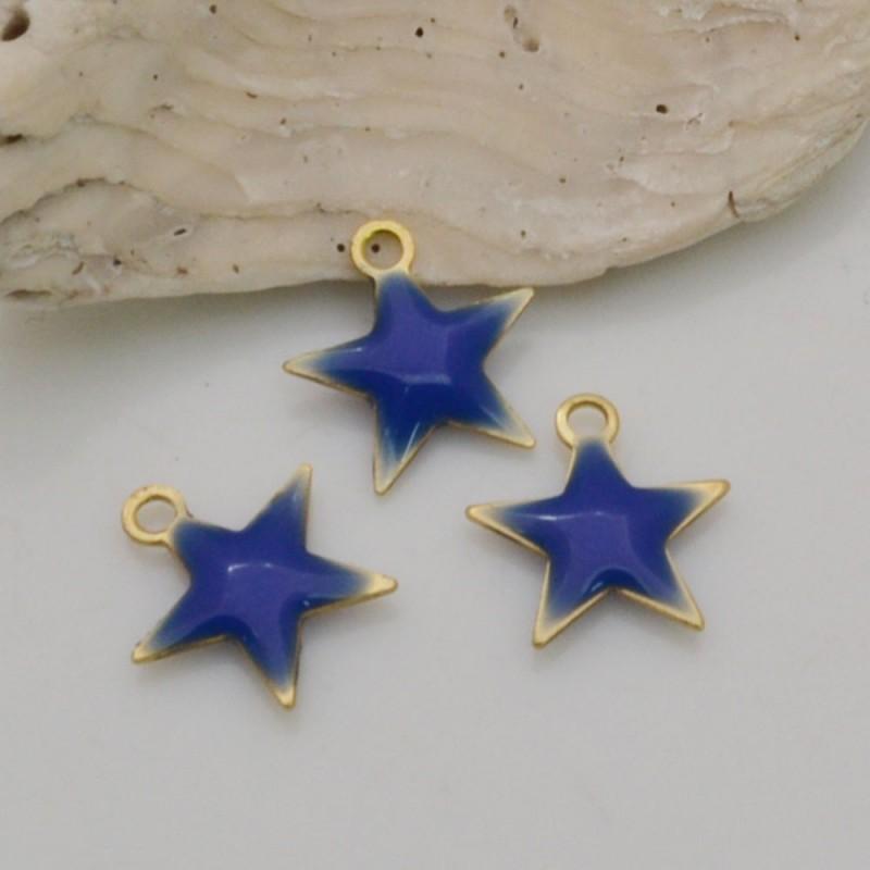 2 pz ciondoli a stella smaltato sopra e sotto in ottone 10 mm per fai da te