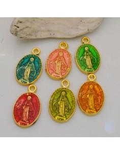 1 pz ciondoli madonnine smaltate 10 x 17 mm in ottone base oro per fai da te