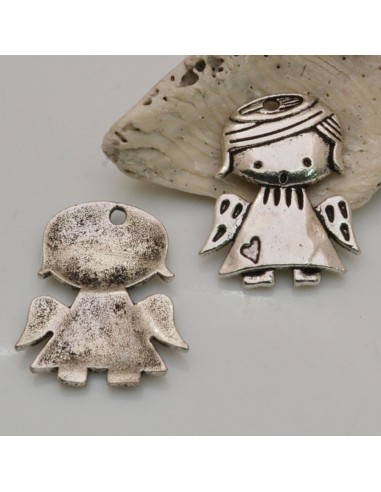 2 Pz Ciondoli ANGELI Bambina 29x24 mm in metallo col argento per le tue creazioni