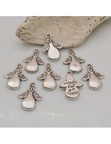8 Pz Ciondoli Angeli Made for an angel 17x13 mm col argento in metello per le tue creazioni