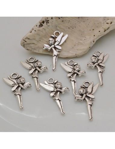 7 Pz Ciondoli fatine 25 x 15 mm IN metallo col argento per le tue creazioni
