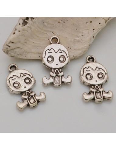 3 Pz Ciondoli Bambine 24x13 mm col argento IN metallo per le tue creazioni