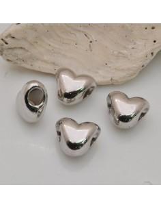 4pz DISTANZIATORI FORO LARGO cuore 9x10 MM col argento rodio PER BRACCIALE COLLANA