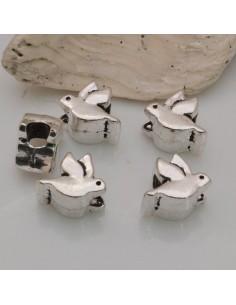 4 pz DISTANZIATORI foro largo forma uccelli 9 mm col argento PER BRACCIALE COLLANA