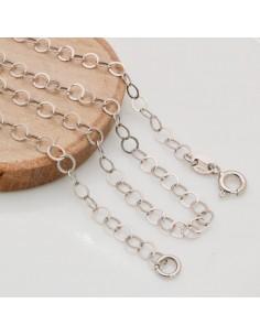 Base collana in argento 925 anelle rotondo piatte 3.5 mm per ciondolo
