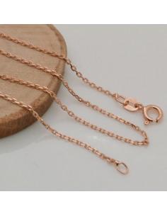 Base collana in argento 925 oro rosa CATENA FINE 1.5 mm misura 40cm ciondolo