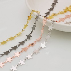 catene in ottone forma stelle 7 mm per bigiotteria
