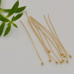 10 pz chiodini in argento 925 placcato oro lunghezza 30 mm filo 0.5 mm pallina 1.8 mm per fai da te