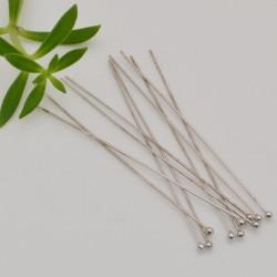 10 pz chiodini in argento 925 rodio lunghezza 50 mm filo 0.5 mm pallina 1.8 mm per fai da te