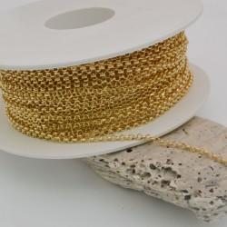 Catena Rolo in argento 925% sfaccettata placcato oro 2 mm per le tue creazioni