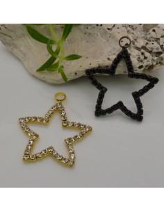 Ciondolo a forma di stella di strass 26 x 29 mm per collana orecchini par fai da te