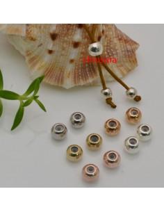 2 pz CHIUSURA PALLINA SEMPLICE fermo cordino a pallina 5 mm in ottone per tuoi gioielli