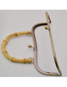 chiusura per borse 27 cm con Manico in bambù 15 cm in metalli col bronzo fai da te