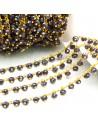 50 cm Catena Rosario con cristalli 4 mm col viola scuro in Ottone per bigiotteria