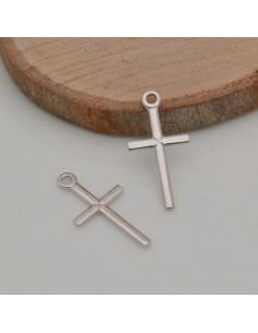 1 pz ciondolo croce in argento 925 piccolo 9.5 x 18.5 mm per tuo gioielli