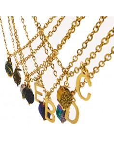 collana dona con lettera oro iniziale piccola in acciaio inox inossidabile base catena lunghezza 40 cm
