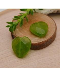 pietre dure a forma cuore 15 mm g. peridoto e Piatta sfaccettata per orecchini