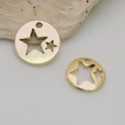 2 pz ciondoli medaglia forma stelle vuoto placcato oro fai da te