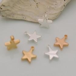 2 pz ciondoli forma stelle liscio 8.5 x 11 mm placcato oro argento fai da te