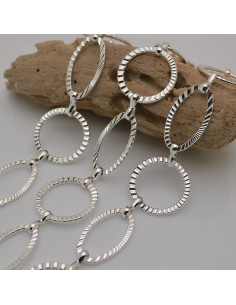catene sfaccettata in metallo colore argento forma a cerchio e ovale per fai da te