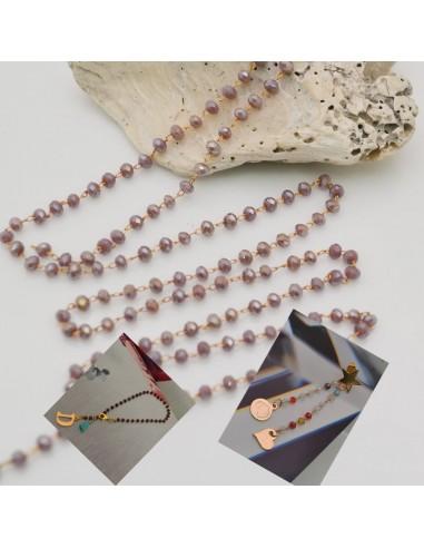 catena rosario con cristalli 2 x 3 mm base oro in ottone colore lilla per fai da te