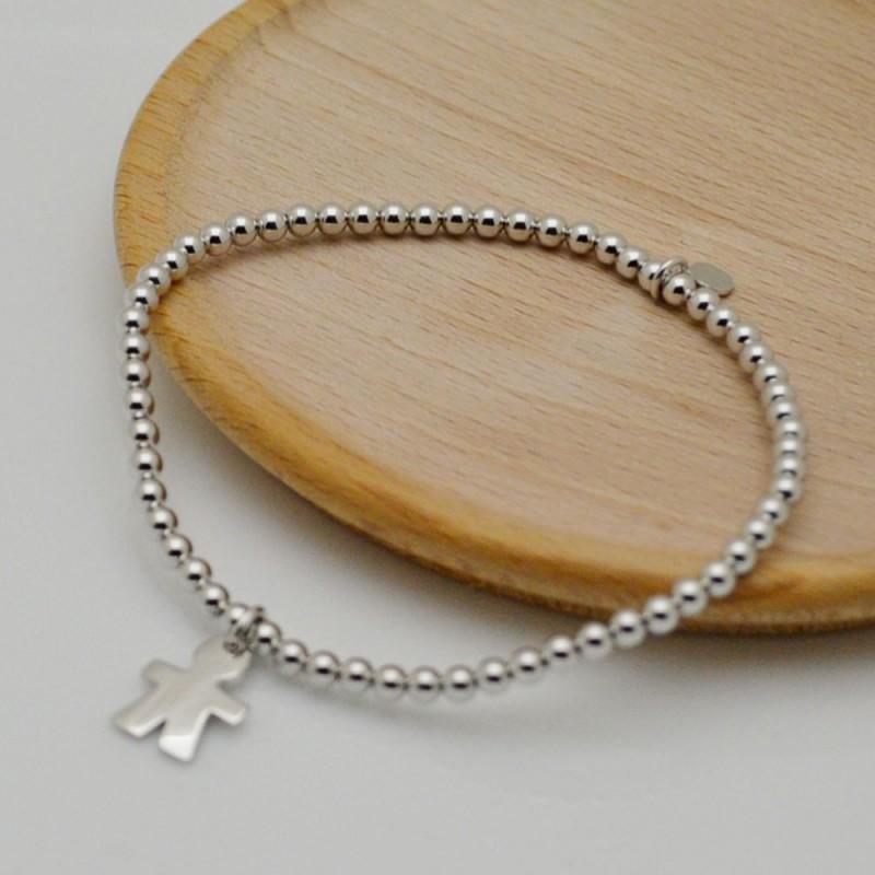 bracciale elastico argento 925 donne bracciale ciondolo bimbo con pallina 3 mm misura 17-18 cm