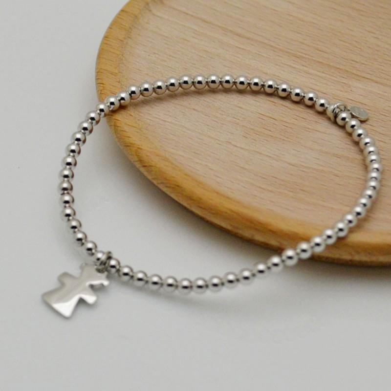 bracciale elastico argento 925 donne bracciale ciondolo bimba con pallina 3 mm misura 17-18 cm