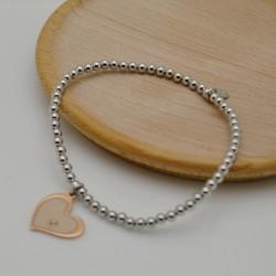 bracciale elastico argento 925 donne bracciale ciondolo forma cuore con pallina 3 mm misura 17-18 cm
