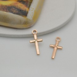 ciondolo croce argento 925 oro rosa croce per rosario 6.3 x 13 mm lisci per decorare le tuo gioielli