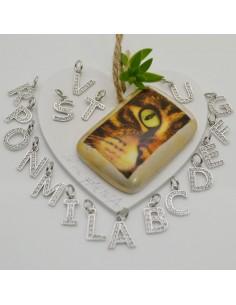 ciondoli lettere pentente 9 x 12 mm con zircone in argento 925 per tue gioielli