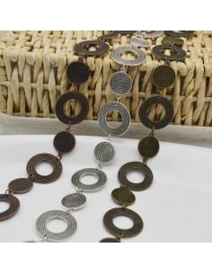 catena fantasia lavorata forma medaglia 20 mm e cerchio 30 mm antico 1mt