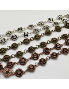 catena forma rosa 13 mm lavorata antico 1mt per orecchini, collane e bracciali fai da te.