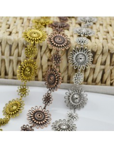catena forma fiore lavorata antico diametro 16 mm 30 mm 1mt per orecchini, collane e bracciali fai da te