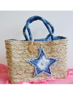 borse paglia decorata a mano con stella jeans borse donne 50xH32x14cm borsa donna mare estate