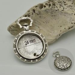BASE CIONDOLI Cabochon 27 x 37 mm interno 24 mm colore argento in metallo 1 pz per bigiotteria