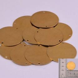 3 pz ciondoli da incidere in ottone rotondo 22 mm con due foro per le tue creazioni