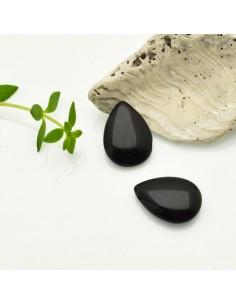 pietre occhio di gatto forma gocce piatta foro laterale colore nero 12 x 18 MM per gioielli