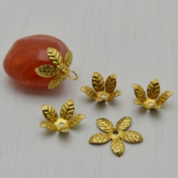 Copri perla forma fogliolina in ottone naturale coppette 10 - 15  mm  4 pz per fai da te