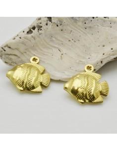 2 pz ciondoli forma pesce colore oro 17 mm in ottone fai da te