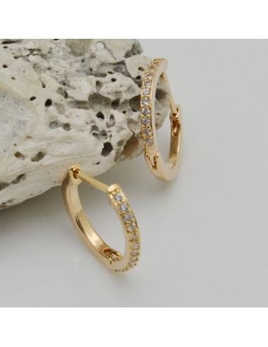 cerchio piccolo orecchino 15 mm con zirconi col oro base orecchini per ciondoli