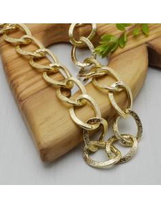 CATENA alluminio forma groumette con filo piatta col oro 16 x 20 mm 1mt fai da te