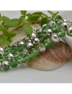 FILO cristallo cinese mezzi cristalli cipollotti 6 x 8 MM colore verde/argento 65 - 70 pz