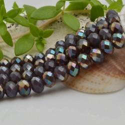 FILO cristallo cinese mezzi cristalli cipollotti 6 x 8 MM colore viola /cammello 65 - 70 pz