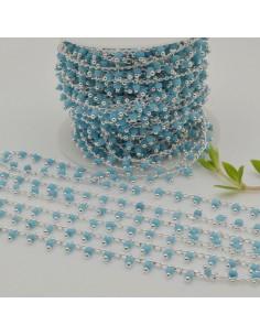 Catena Rosario con perline indiane 2 mm base argento col turchese chiaro conf 50 cm per fai da te