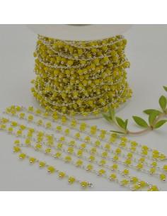 Catena Rosario con perline indiane 2 mm base argento col giallo conf 50 cm per fai da te