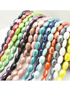 perline ceramica forma ovale luminosa smaltato 10 x 14 mm poco bombata filo 20 pz per fai da te
